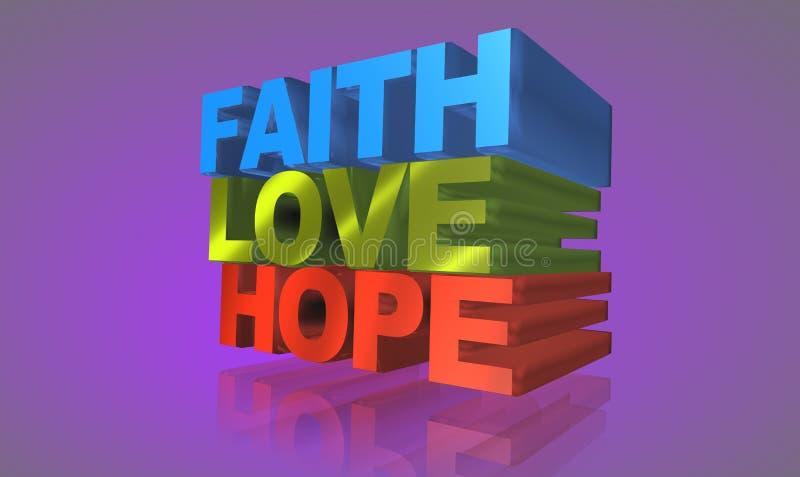 Fe, amor y esperanza stock de ilustración