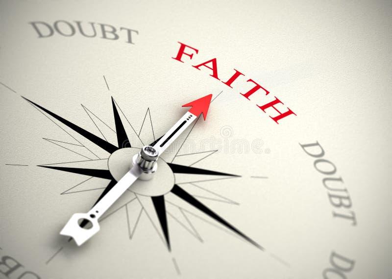 Fe contra concepto de la duda, de la religión o de la confianza stock de ilustración