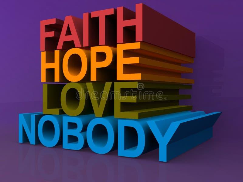 Fe, esperanza, amor, nadie libre illustration