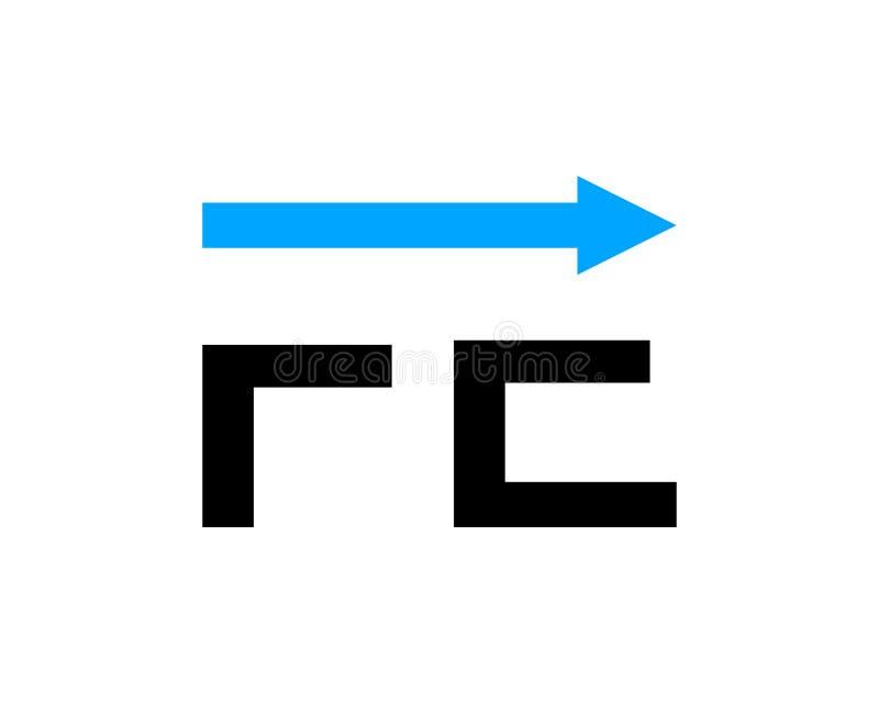 FE för initial bokstav med design för pillogomall stock illustrationer