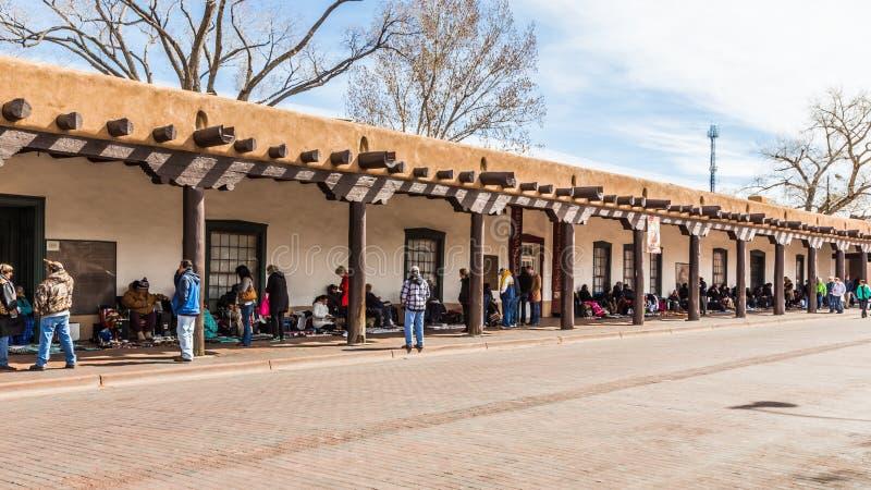 FE KERSTMAN, NEW MEXICO, de V.S., 4 April, 2014: Paleis van Govenor royalty-vrije stock afbeeldingen
