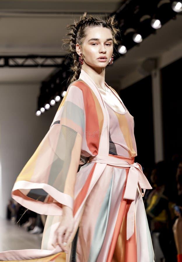 Fe Noel FW 2020. New York, NY, USA - February 12, 2020: A model walks runway for Fe Noel by Felisha Noel Fall/Winter 2020 Collection during New York Fashion Week royalty free stock photo