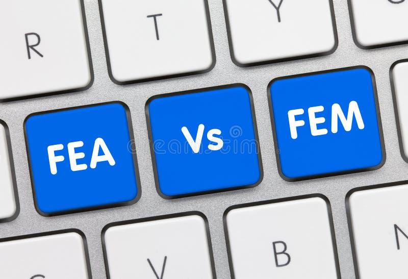 FEA Vs. FEM - Inscription on Blue Keyboard Key. FEA Vs. FEM Written on Blue Key of Metallic Keyboard. Finger pressing key stock photos