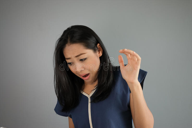 Fear Asian woman. royalty free stock image