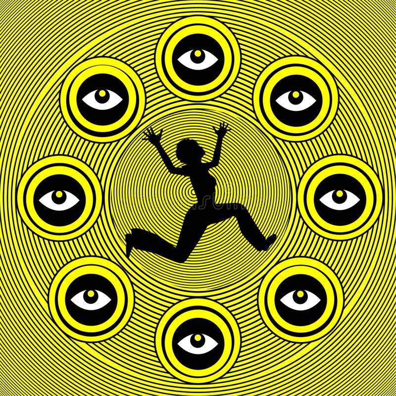 Fear of being spied on. Scopophobia, anxiety disorder, schizophrenic paranoia, characterized by a morbid fear of being stared at or being followed by other royalty free illustration