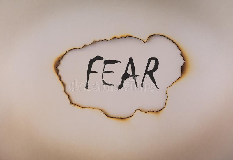 Fear concept, word on burnt paper royalty free stock photos