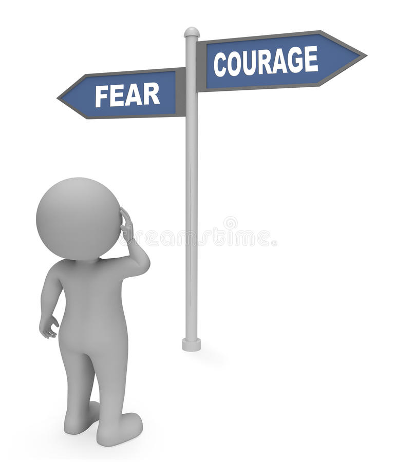 Fear Courage Sign Indicates Terror Bravery And Determination 3d Rendering. Fear Courage Sign Showing Terror Frightened And Fearlessness 3d Rendering vector illustration