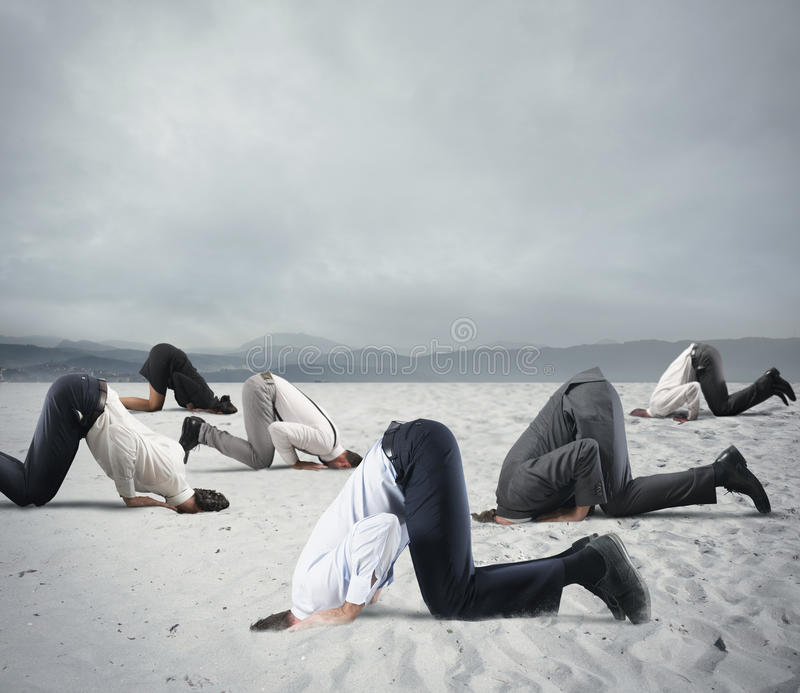 Download Fear Of Crisis With Businesspeople Like An Ostrich Stock Photo - Image of negative, desert: 82552408