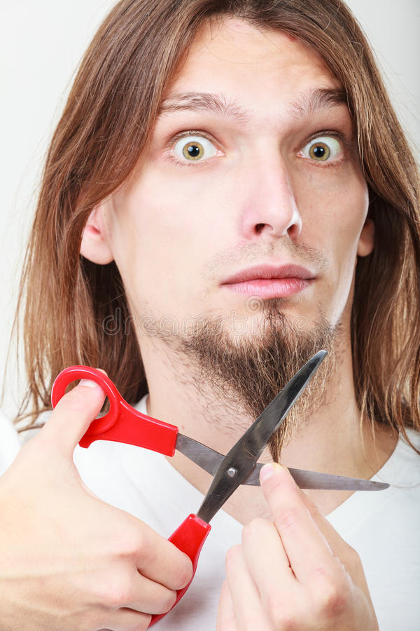 Fear of cutting beard royalty free stock photo