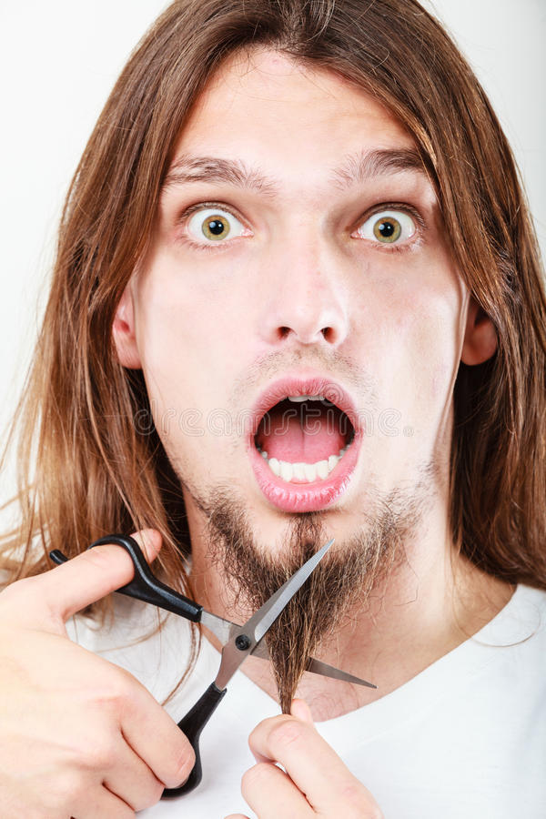 Fear of cutting beard royalty free stock image