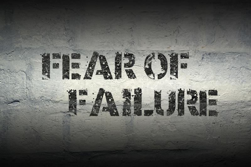 Fear of failure gr. Fear of failure stencil print on the grunge white brick wall stock illustration