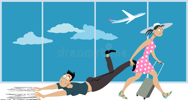 Fear of flying. Woman dragging a man who`s affected by a fear of flying through an airport, EPS 8 vector illustration stock illustration