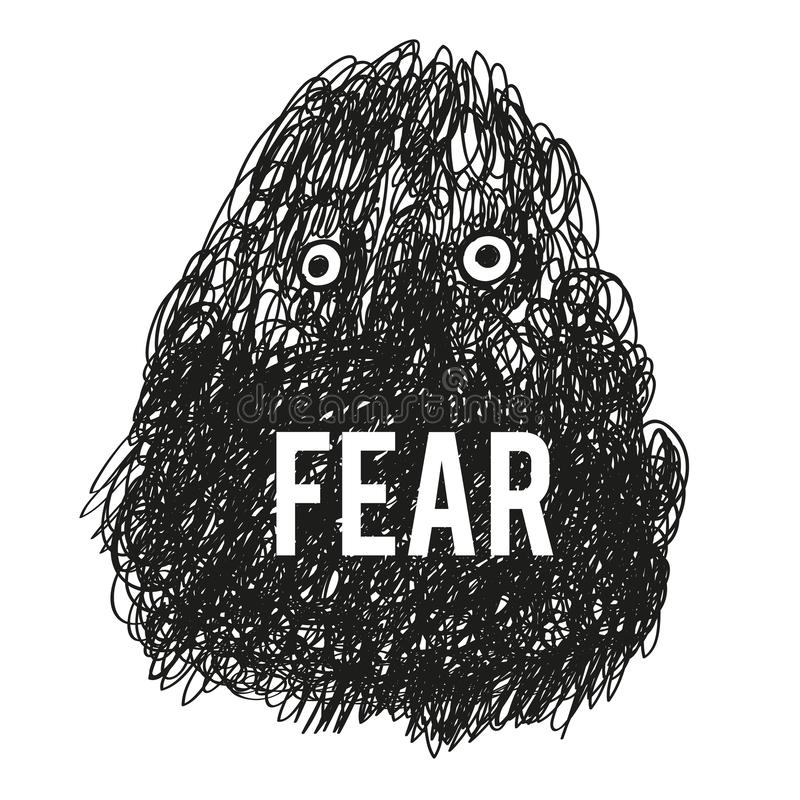 Fear monster illustration - vector. Graphic royalty free stock images