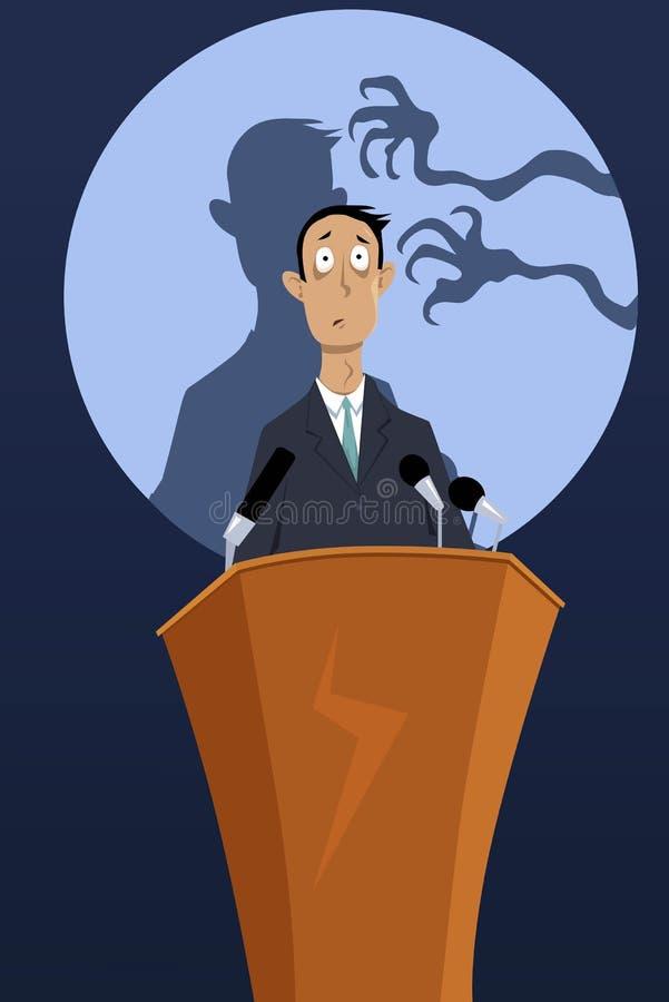 Fear of public speaking stock illustration