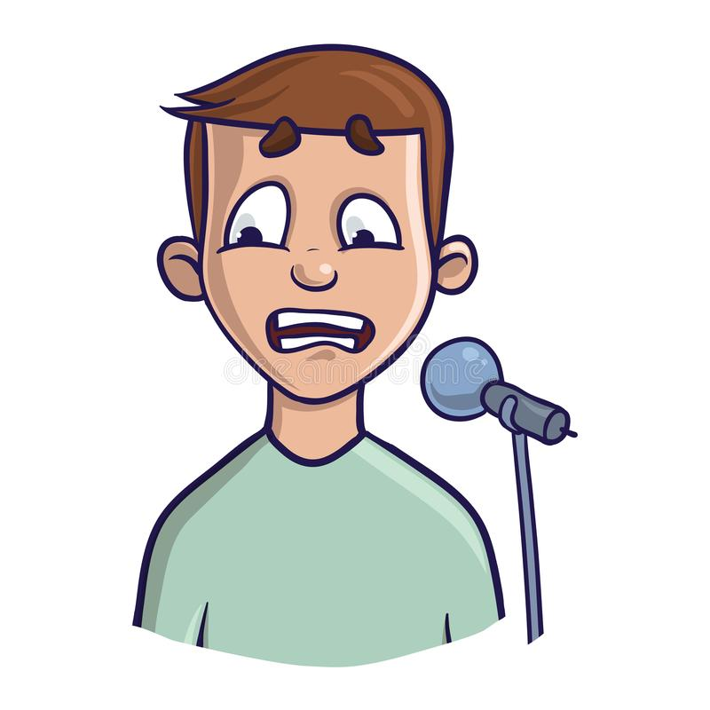 Fear of public speaking, glossophobia. Excitement and loss of voice. vector illustration