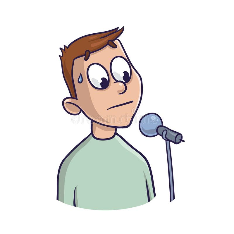 Fear of public speaking, glossophobia. Excitement and loss of voice. Man with microphone. Vector illustration, isolated stock illustration