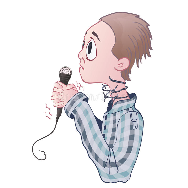 Fear of public speaking, glossophobia. Excitement and loss of voice. stock illustration