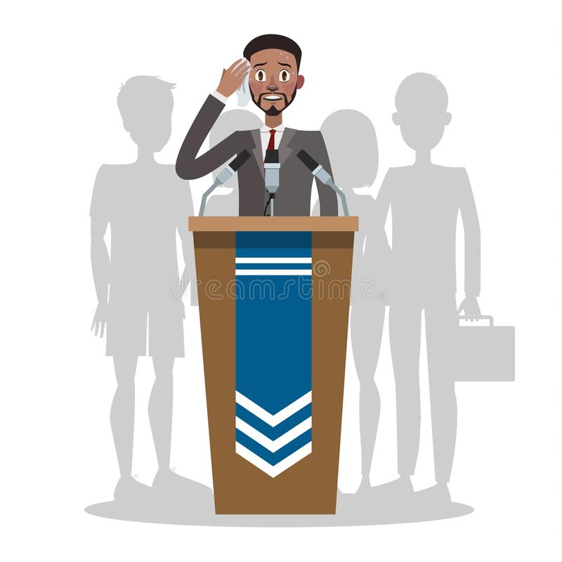 Fear of the public speaking or glossphobia. vector illustration