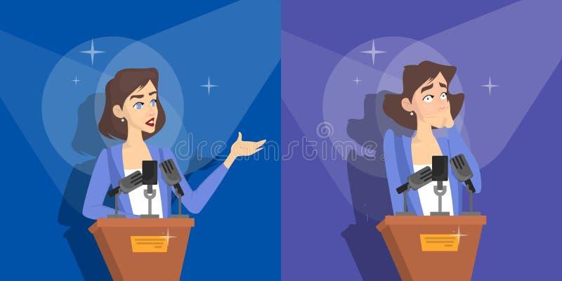 Fear of public speaking. Woman is afraid stock illustration
