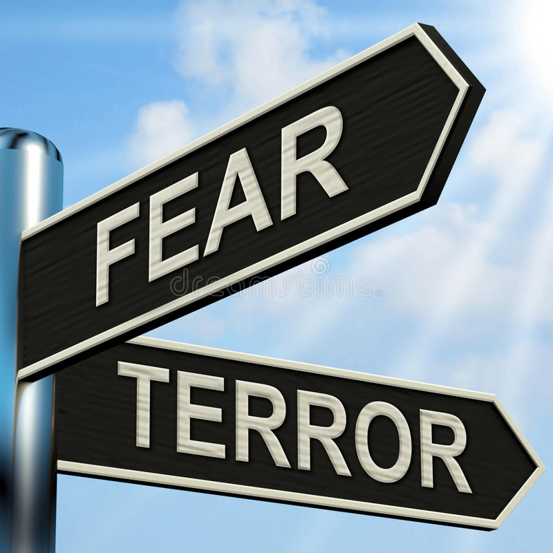 Fear Terror Signpost Shows Frightened And Terrified. Fear Terror Signpost Showing Frightened And Terrified stock illustration