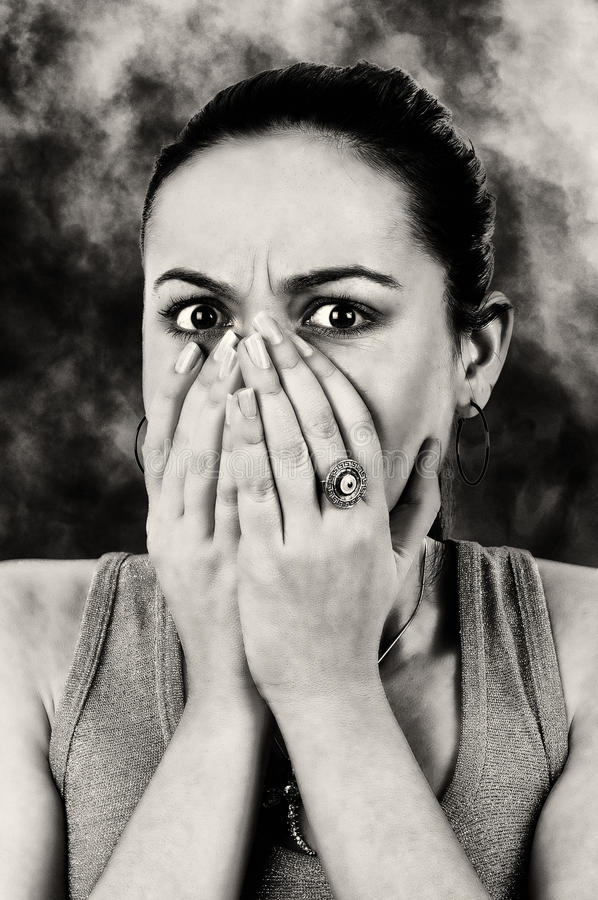 Fear of the witness. Concept photo of the afraid woman being witness of crime. young woman stressed stock photos