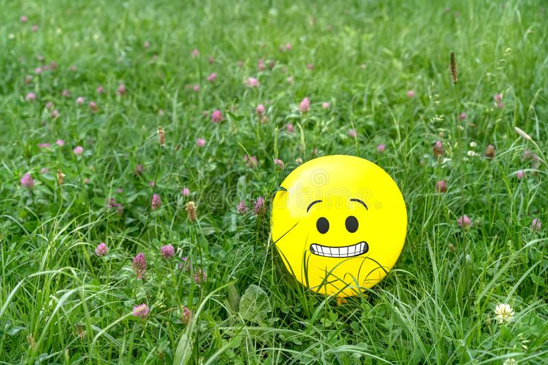 Feared emoji face on a yellow balloon laying on the green grass. Feared emoji face on a yellow balloon in the meadow grass. Concept of scare or anxiety emotion royalty free stock images