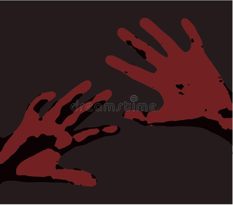 Feared raised hands for protection Illustration of pain clean vector red hands over dark gray background sex abuse labour stock image