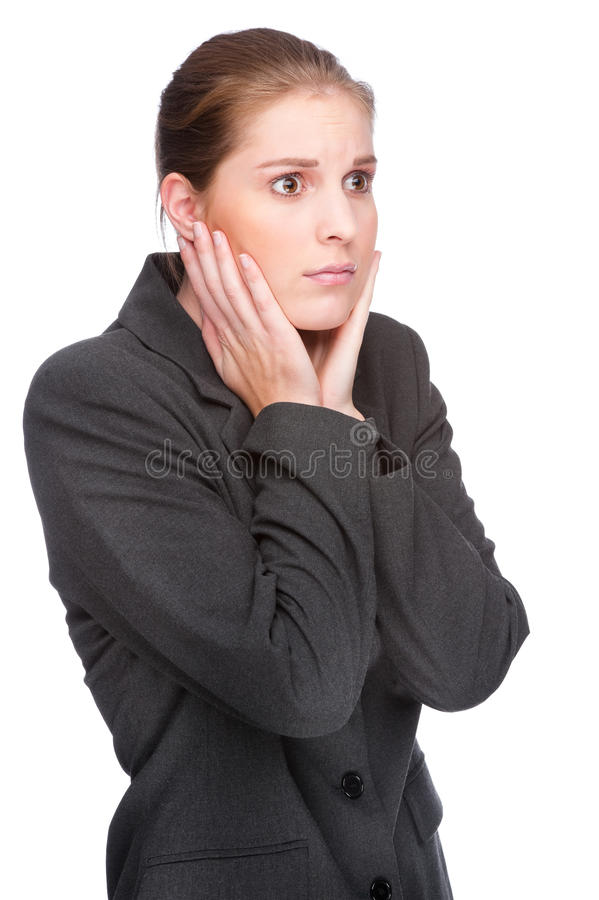Fearful Businesswoman Royalty Free Stock Images