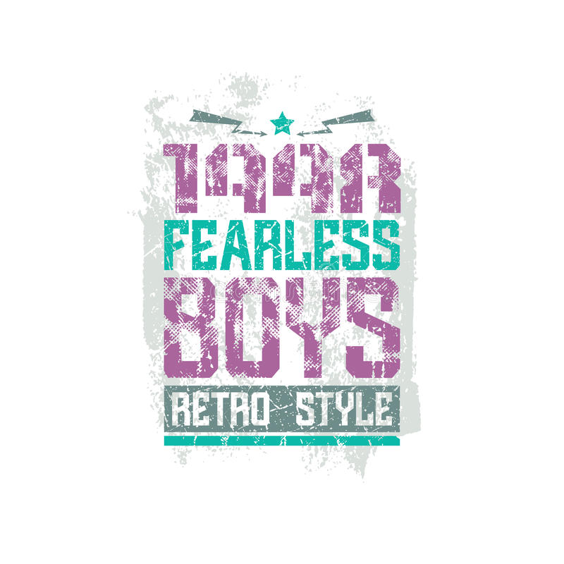 Fearless boys team emblem. Graphic design for t-shirt. Color print on a white background vector illustration