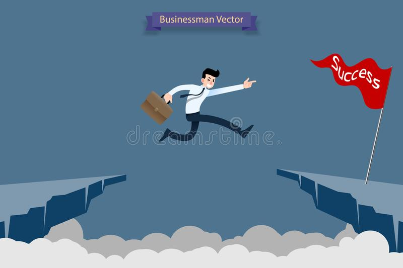 Fearless brave businessman make risk by jump over the ravine, cliff, chasm to reach his success target challenge of his career. vector illustration