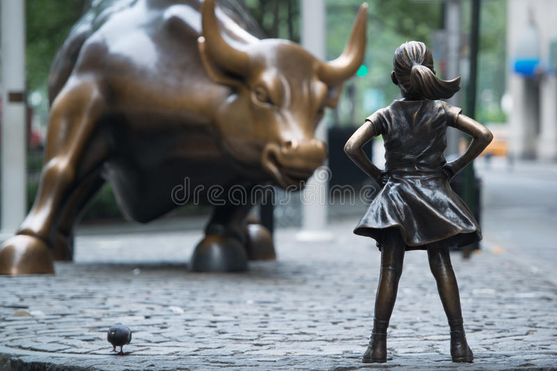 Fearless girl stock image