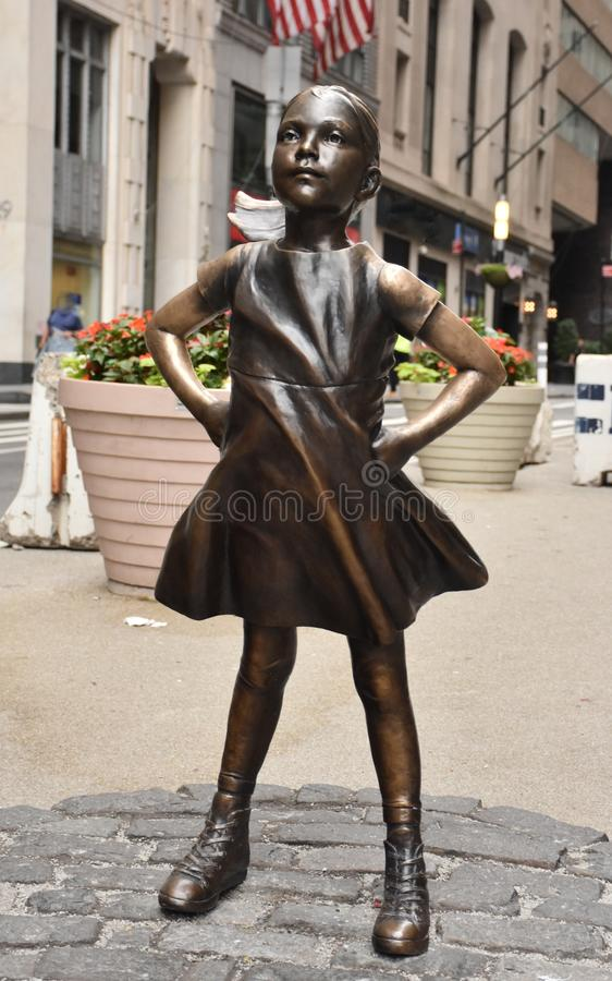 Fearless Girl Statue in New York City stock image