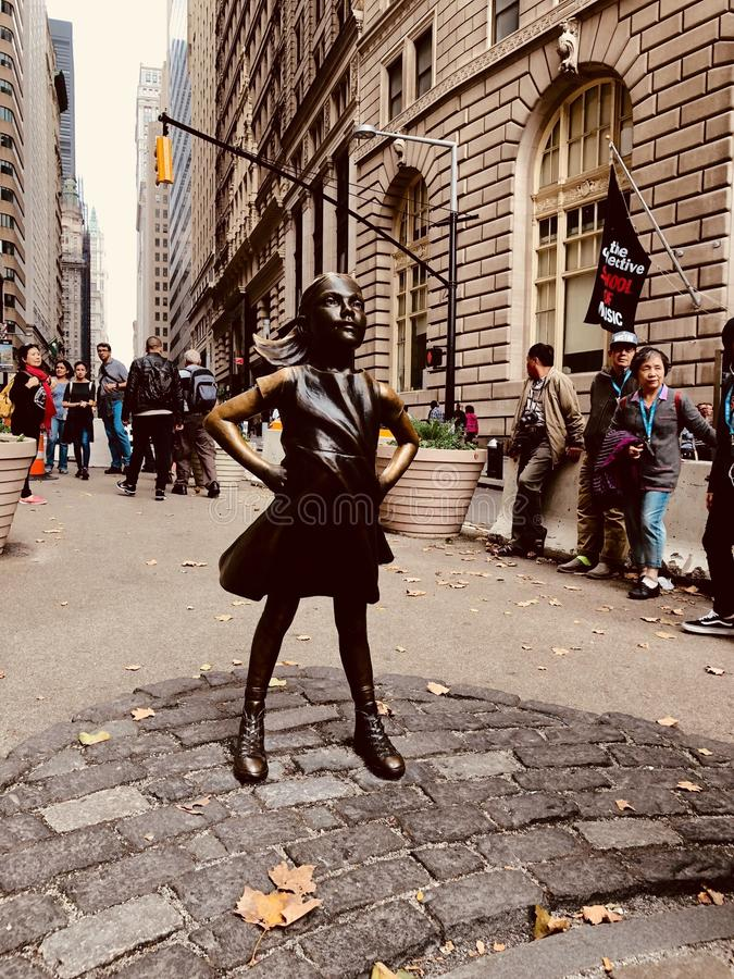 Fearless Girl of Wall Street royalty free stock photography