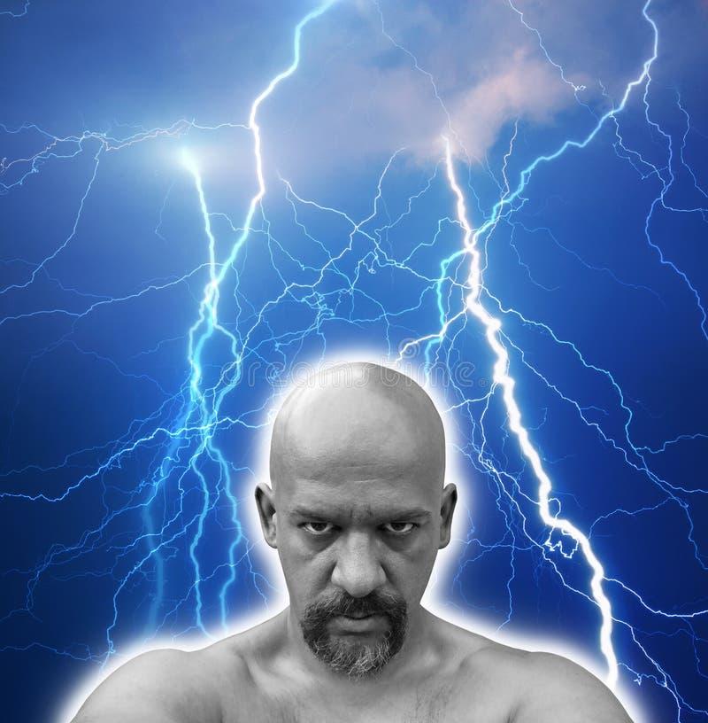 fearless hit lightnings man multiple strong arkivbilder