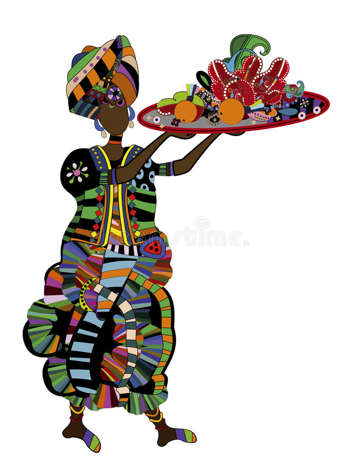 Feast. Woman with a meal on a white background in ethnic style vector illustration