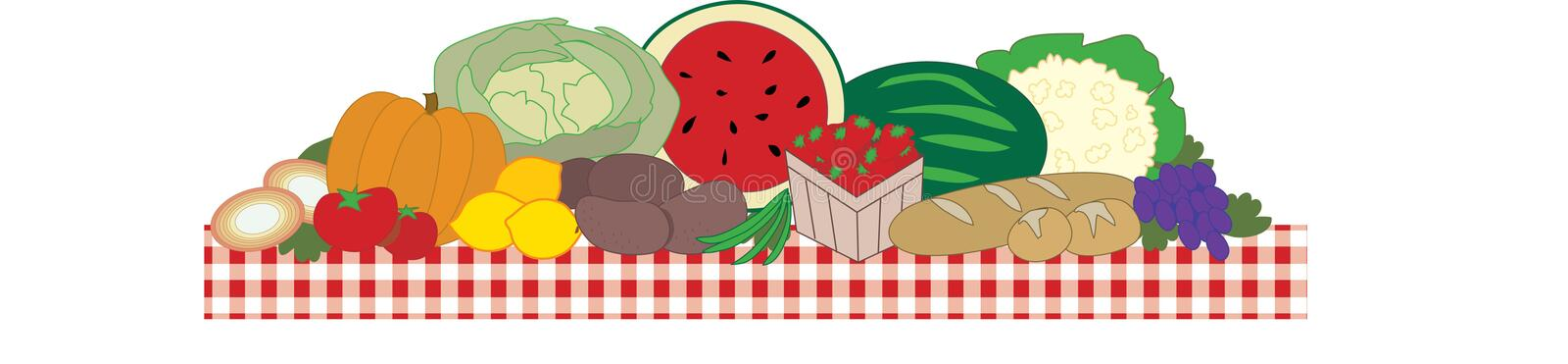 The Feast. A big table filled with fruits and vegetables vector illustration