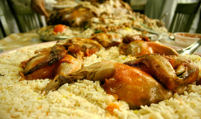 Feast. A muslim feast to celebrate a wedding in Dubai, traditionally called a waleema stock photos