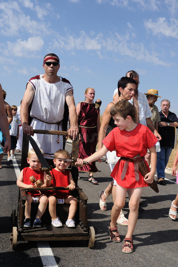 FEAST of BACCHUS .Burgos .SPAIN. FEAST of BACCHUS Children playing with swords.BAÃ'OS DE VALDEARADOS . Burgos .Castilla y Leon .SPAIN royalty free stock images