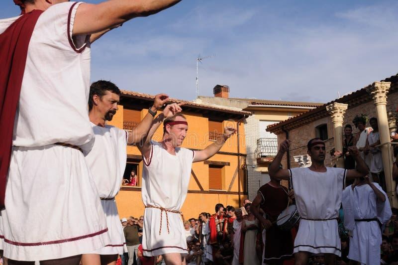 FEAST of BACCHUS .Burgos .SPAIN. FEAST of BACCHUS .Traditional dance in the main square.BAÃ'OS DE VALDEARADOS . Burgos .Castilla y Leon .SPAIN stock photos