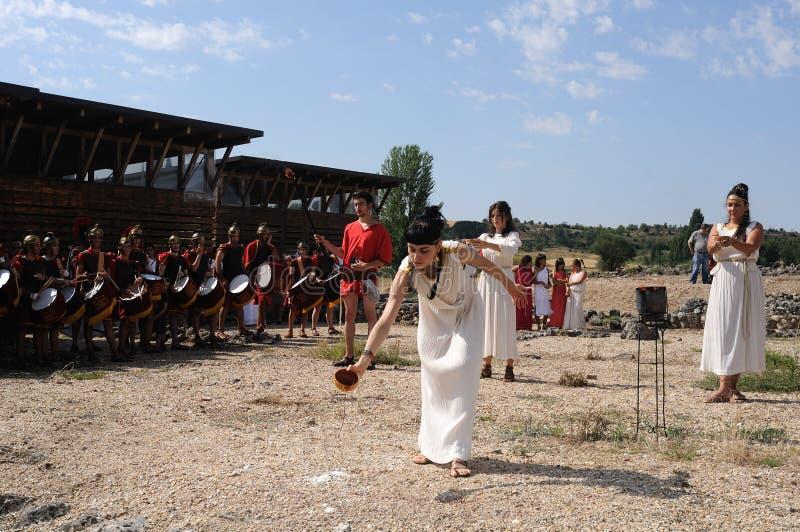 Feast of Bacchus.SPAIN. SPAIN. Castilla y Leon .Burgos .Baños de Valdearados . Feast of Bacchus ; Invocation ceremony to the god Bacchus in the Roman Villa of royalty free stock images