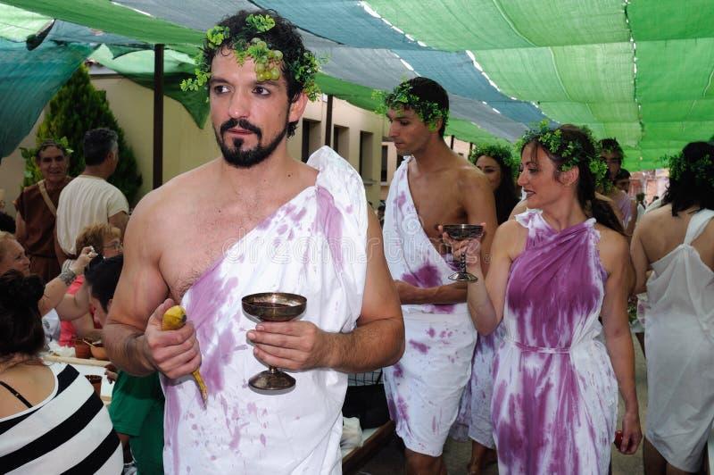 Feast of Bacchus.SPAIN. SPAIN. Castilla y Leon .Burgos .Baños de Valdearados . FEAST of BACCHUS ; Representation of roman bacchanal royalty free stock image