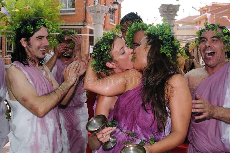Feast of Bacchus.SPAIN. SPAIN. Castilla y Leon .Burgos .Baños de Valdearados . FEAST of BACCHUS ; Representation of roman bacchanal royalty free stock images