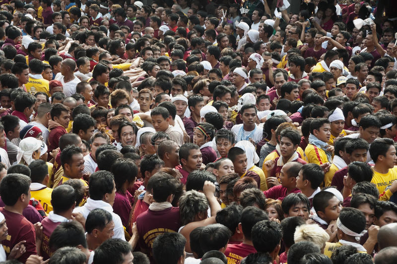 Feast of the Black Nazarene. Millions of people attended the annual commemoration of the Feast of the Black Nazarene in Manila. Two people died and several royalty free stock photography