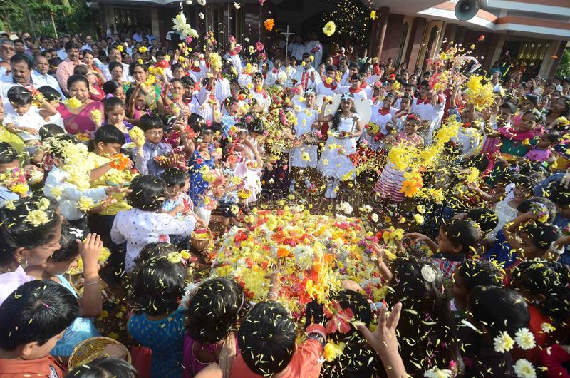 The feast of Nativity of Our Lady, 'Monthi Fest' being celebrated In Mangalore. Mangalore: September .8,2014- The Feast of Blessing of New corns-Nativity of Our stock photos
