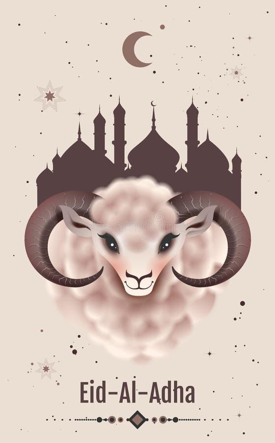Free Feast Of Sacrifice Eid Al Adha Greeting Card. Ram Head Royalty Free Stock Photos - 151772568