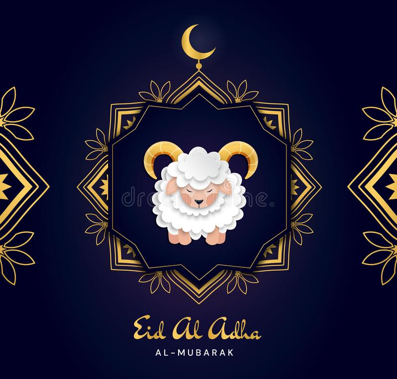 Feast of the Sacrifice Arabic: Eid al-Adha Mubarak Feast of the Sacrifice Greeting. Colourful Vector Greeting Card. stock illustration