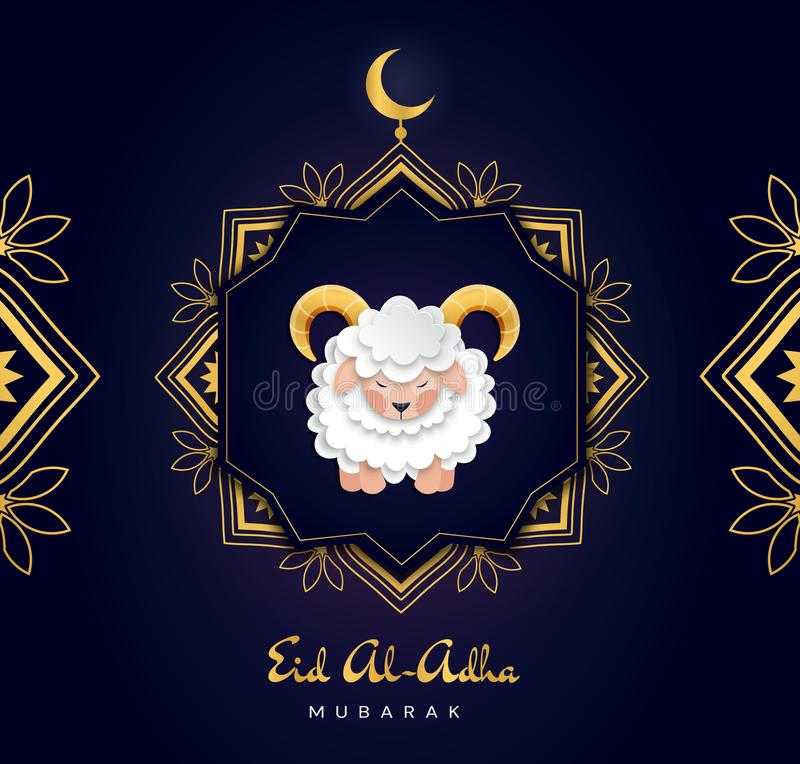 Feast of the Sacrifice Arabic: Eid al-Adha Mubarak Feast of the Sacrifice Greeting. Colourful Vector Greeting Card. royalty free illustration