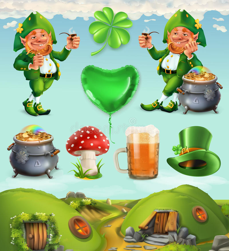 Feast of Saint Patrick. Fairy Tale Village. Leprechaun house vector icon set royalty free illustration