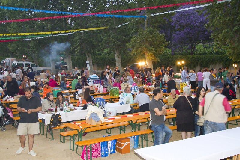 Feast of San Juan in Spain. People celebrating San Juan in Alella, Barcelona, Spain, on June 23, 2013. The Feast of Sant Joan or San Juan celebrates the start of royalty free stock photos