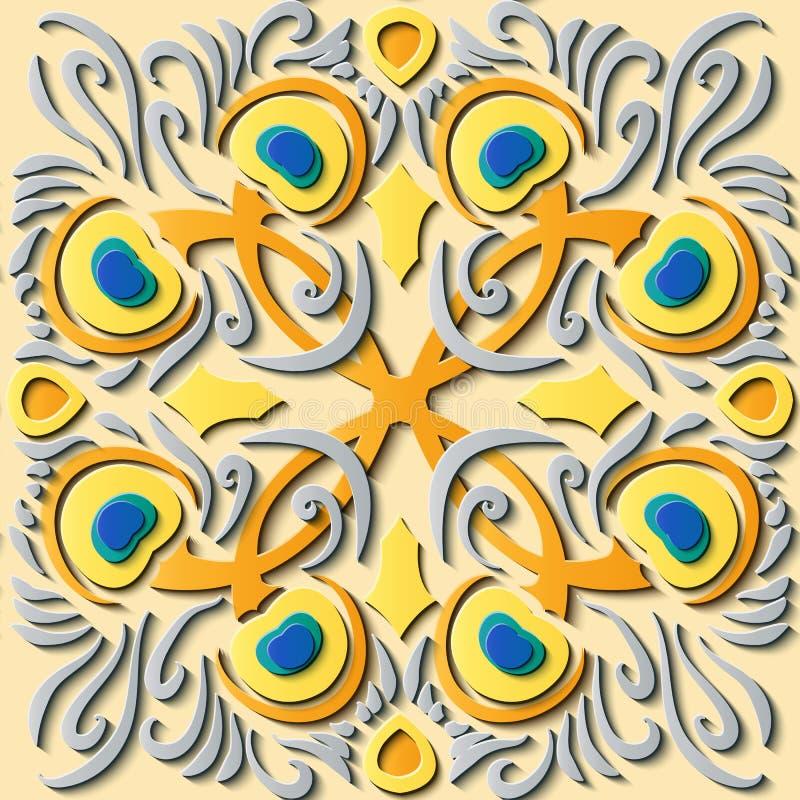 Feath retro do pavão do teste padrão da decoração sem emenda da escultura do relevo ilustração stock